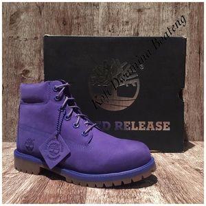 Timberland 6-Inch Premium Waterproof Blue Violet Junior Big Kids Boots A1P6H
